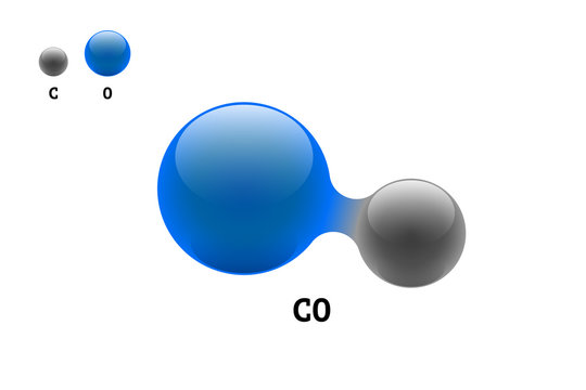 Chemistry model molecule carbon monoxide CO scientific element formula. Integrated particles natural inorganic 3d molecular structure consisting. Two carbon and oxygen volume atom vector spheres