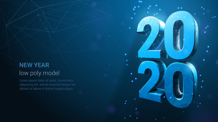 Happy New Year 2020 Banner. Blue Neon Vector Luxury Text 2020 Happy New Year. Wireframe Light Numbers Design. Happy New Year Banner with 2020 Numbers
