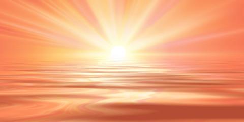 Türaufkleber Koralle spring sun rays water reflection pink red sky. spring landscape illustration