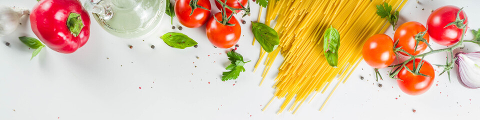Traditional ingredients for spaghetti pasta