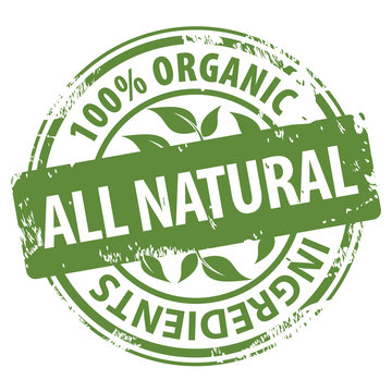 All Natural 100 percent Organic ingredients green rubber stamp icon isolated on white background.