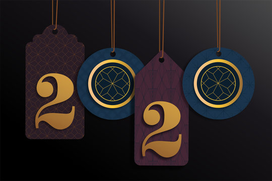 2020 new year tags with luxury goldn colors