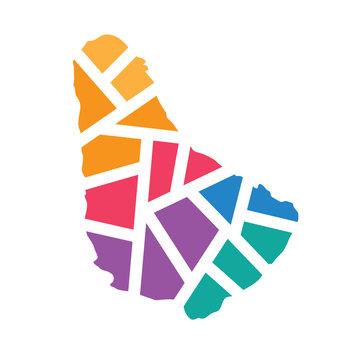 colorful geometric Barbados map- vector illustration