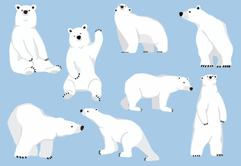 Simple white bear character.Vector illustration character doodle cartoon