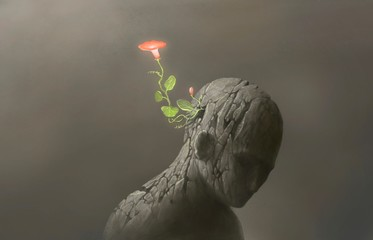 Life and freedom and hope concept , Imagination of surreal scene flower with broken human sculpture, digital artwork illustration Fotomurales