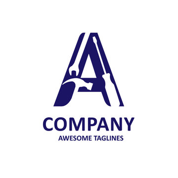 Letter A with Industrial repair tools vector logo concept,  service and maintenance logo for corporate identity.