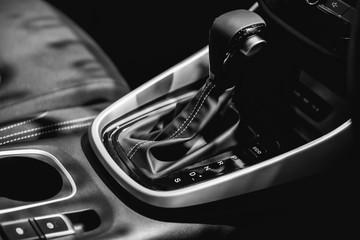 Automatic transmission gear of sport car, interior design for modern car.