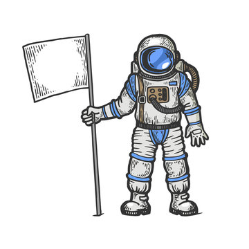 Astronaut spaceman with flag sketch engraving vector illustration. T-shirt apparel print design. Scratch board style imitation. Black and white hand drawn image.
