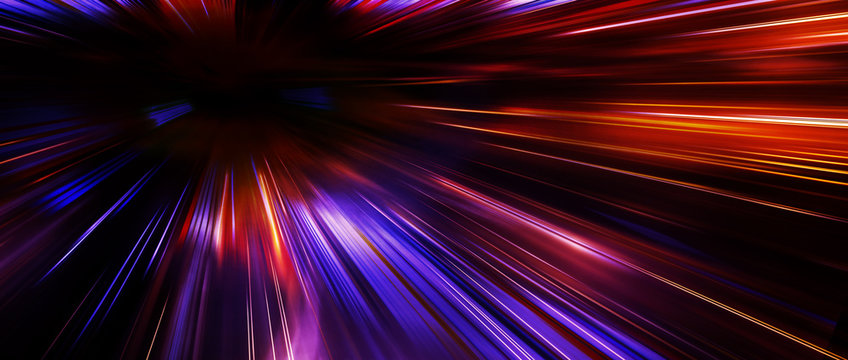 Panoramic high speed moving fast light technology concept, light abstract background