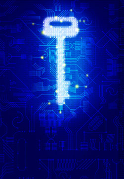 digital key for AI or Artificial intelligence Safety concept, Dot Connection formed Key icon on Binary digital number background