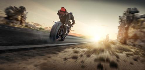 Motorrad fährt in den Sonnenuntergang Wall mural