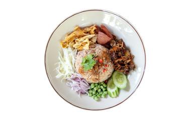 Obraz Rice seasoned with Shrimp Paste on isolated white background. (Khao Kluk Ka Pi) - fototapety do salonu