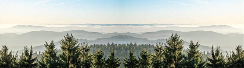 Amazing fog landscape in black forest panorama banner long Fototapete