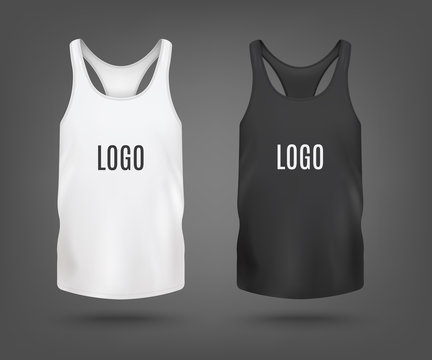 Set of tank top or sleeveless shirt mockup 3d vector illustration isolated.