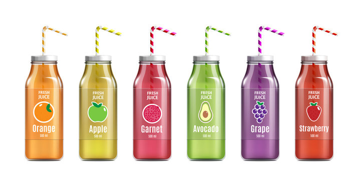Glass bottle of juice with labels realistic vector mockup illustration isolated.