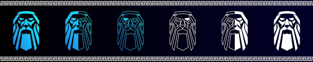 Odin with modern line art style logo design in black and white. Hipster vector technology logo template