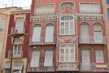 Traditional architecture in Cartagena, Spain. Cartagena modernist buildings, Murcia, Spain