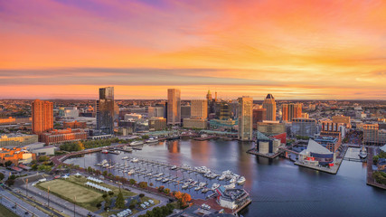 Baltimore, Maryland, USA Inner Harbor Skyline Aerial