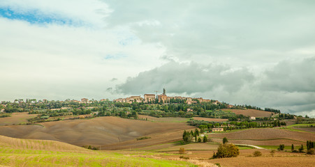Pienza Cityscape and Farming Countryside Panoramic view