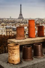 chimneys, roofs of Paris, Eiffel Tower