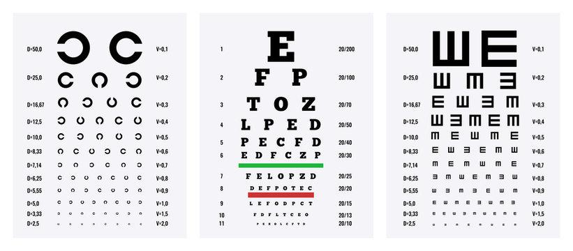 Eye Test Charts Set
