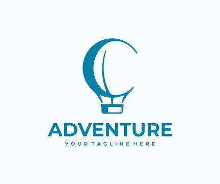 Hot air balloon logo design. AIr balloon with basket vector design. Air transport logotype