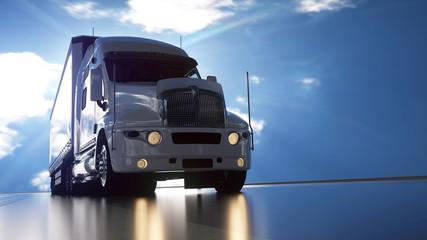 Delivery truck on asphalt road highway - transportation background. 3d illustration