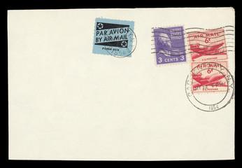 Luftpost airmail USA Amerika vintage retro Umschlag envelope Briefmarken stamps gestempelt used old alt Flugzeuge planes Thomas Jefferson Profil lila purple Gesicht face Stern star 1954