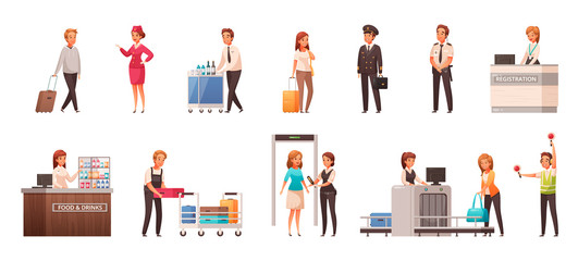 Airport Cartoon Icons Set