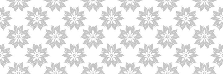 Floral gray print on white. Long seamless pattern Fotobehang
