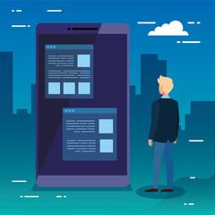 Smartphone and man design, Digital technology communication social media internet web and wireless theme Vector illustration