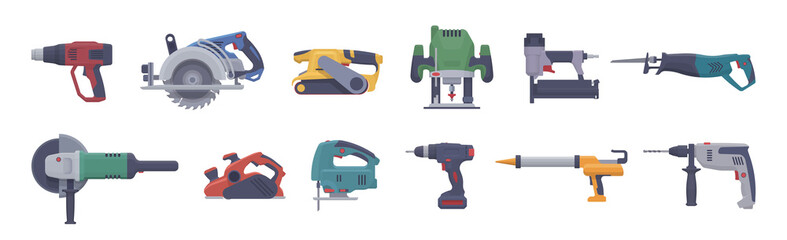 Vector power tool set. Isolated electric tools. Flat illustration