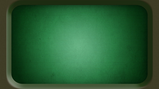 Blank old green computer terminal screen in frame