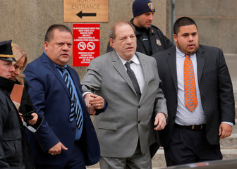 Film producer Harvey Weinstein exits following a hearing in his sexual assault case at New York State Supreme Court in New York
