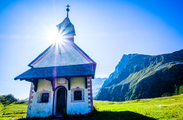 Wall Mural - small chapel at the european alps