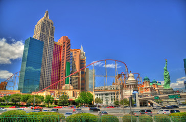LAS VEGAS, NEVADA, MAY 16: Colorful HDR image of New York-New York Casino and Hotel with its roller coaster. Las Vegas, May 16, 2016