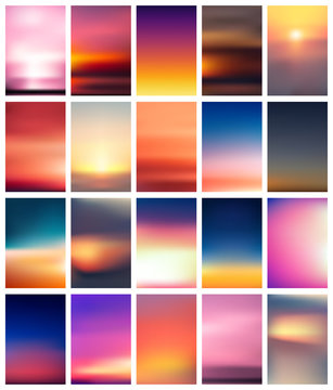 Set of colorful sunset and sunrise cards. Blurred modern gradient mesh background.