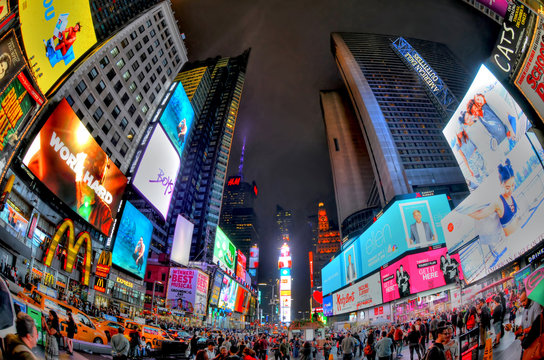 NEW YORK CITY, USA, AUG 7: Times Square ,the busy tourist intersection of neon art and commerce. It is an iconic street of New York City and America, Aug 7, 2017 in HDR, Manhattan, New York City.