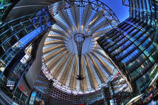 BERLIN, GERMANY, APR 21: Wide angle image of the top of the  Sony Center at the Potsdamer Platz in Berlin, Germany, April 21, 2018