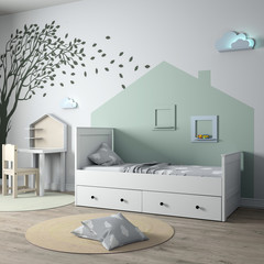 3d render of the interior of a children's room. Children's furniture