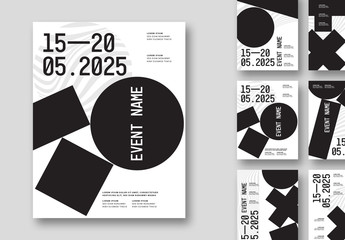 Typographic Poster Set Layout with Bold Geometric Elements