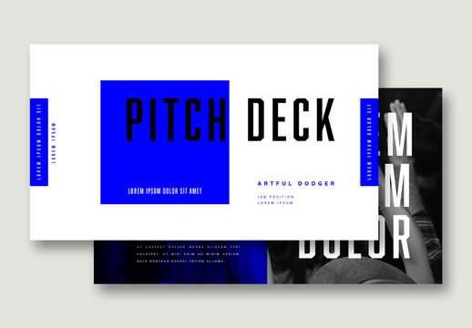 Pitch Deck Layout with Blue Accents