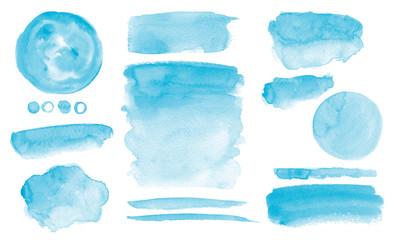Fototapeta Blue watercolor stains Set of brush strokes Invitation design obraz