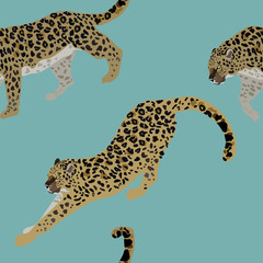 Two leopards on a delicate blue background seamless vector illustration. Picture with exotic animals on aquamarine ground. Endless pattern.