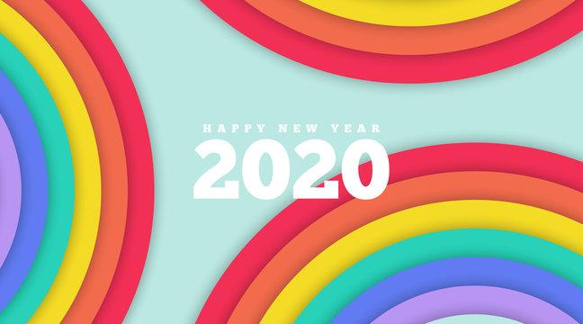 Happy new year 2020 bavkground illustration