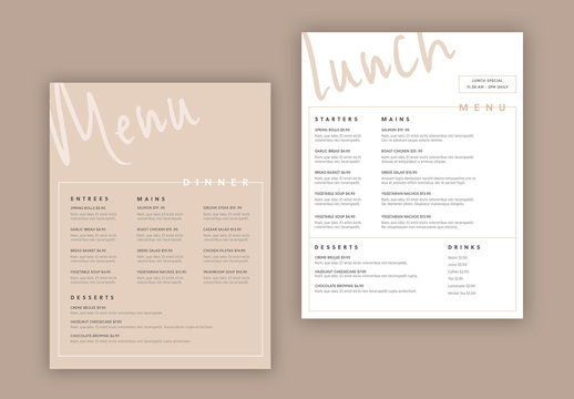 White and Tan Menu Layout Set