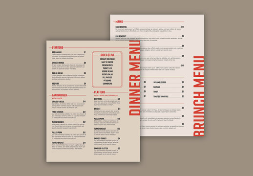 Menu Layout with Red Accents