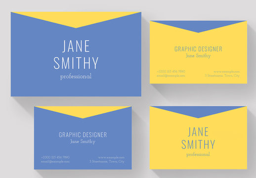 Blue and Yellow Business Card Layout