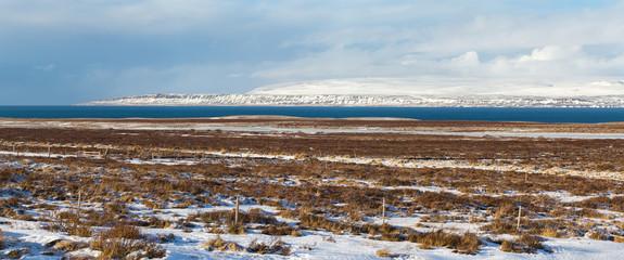 Iceland winter panorama, Iceland weather,  icelandic landscape, winter in Iceland, sunny day in winter, icelandic bayshore