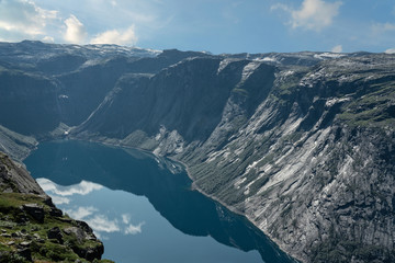 Norway, mountain lake landscape, picturesque view. Ringedalsvatnet lake panorama near Trolltunga